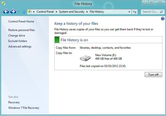 Windows 8 File History Screenshot uploaded by www.pcclean.ie